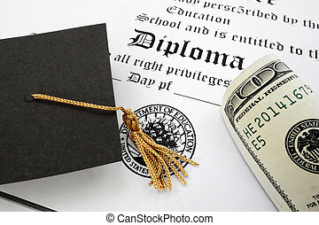 diploma and cash - graduation cap and money on a diploma...