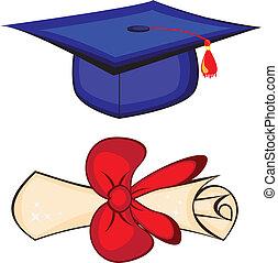 Diploma and graduation cap. Illustration on white background