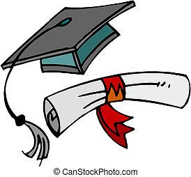 Diploma and graduation cap.