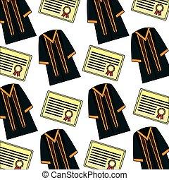 diploma and toga graduation pattern vector illustration...