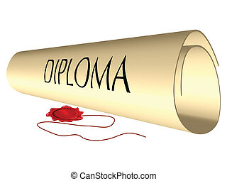 diploma and wax seal against white background, abstract...