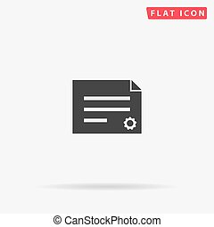 Diploma, Attestation flat vector icon. Glyph style sign. ...