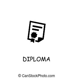 Diploma, Attestation flat vector icon. Hand drawn style ...
