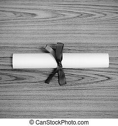 diploma black and white color tone style