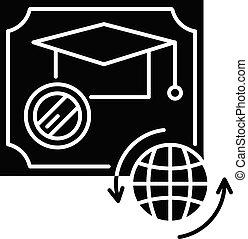 Diploma black glyph icon