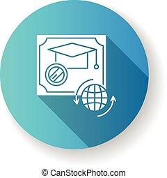 Diploma blue flat design long shadow glyph icon. School ...