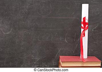 diploma, boekjes , chalkboard