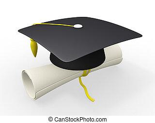 diploma, boné, graduação, 3d