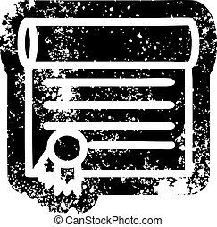 diploma, certificaat, pictogram