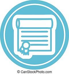 diploma, certificato, icona