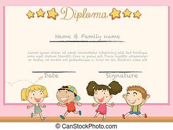 diploma, com, crianças, fundo