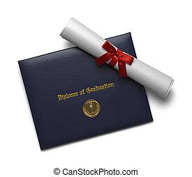 diploma, de, graduação, cobertura, e, medalha