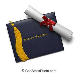 diploma, de, graduação, e, tassel