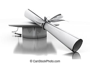 diploma, de, um, solteiro