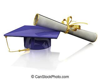 diploma, de, un, soltero