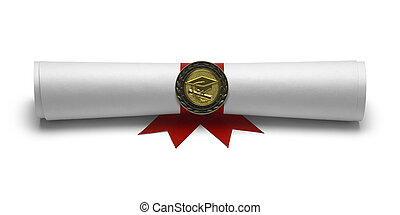 Diploma Degree Front View - Graduation Degree Scroll with...