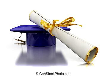 diploma, di, uno, scapolo