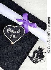 diploma., dia, boné, graduação