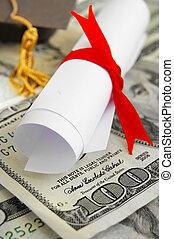 diploma, dinheiro