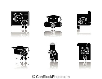Diploma drop shadow black glyph icons set
