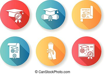 Diploma flat design long shadow glyph icons set. School ...