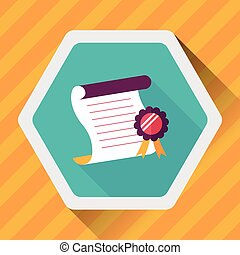 diploma flat icon with long shadow, eps10