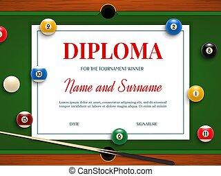 Diploma for billiard tournament winner certificate