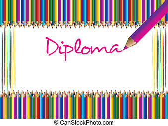 Diploma for children with the motive of the crayons in the...