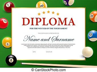 Diploma for the winner of billiard tournament