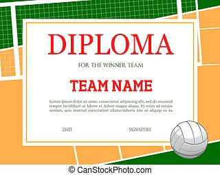 Diploma for volleyball winner team vector template