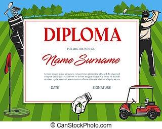 Diploma for winner of golf tournament certificate