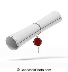 diploma, graduação, scroll
