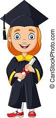 diploma, graduação, traje, segurando, menina, caricatura