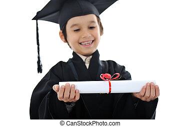 diploma, graduar, pequeno, estudante, criança, sucedido, escola elementar