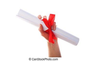 diploma graduation showing university education concept on...