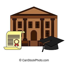 diploma graduation with hat and school building
