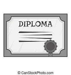 Diploma icon, gray monochrome style