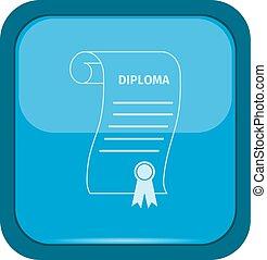 Diploma icon on a blue button