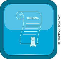 Diploma icon on a blue button