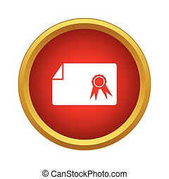 Diploma icon, simple style