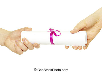 diploma in hand - Diploma with a red ribbon in hand isolated...