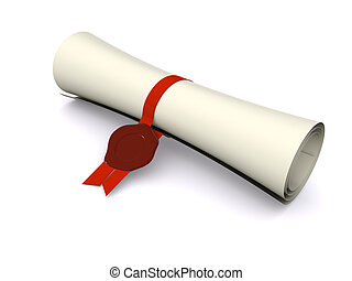 diploma in scroll on white. 3d
