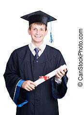 diploma, isolado, graduado, sorrindo, sujeito, feliz