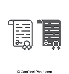 Diploma line and glyph icon, school and education, certificate sign vector graphics, a linear pattern on a white background, eps 10.