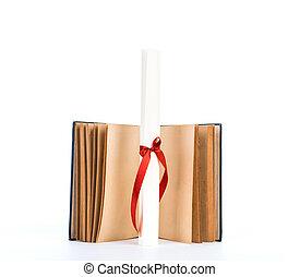 diploma, met, oud, boek