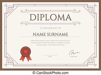 prima certificado diploma vector diseño plantilla o
