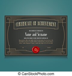 Diploma of achievement, appreciation vector blank