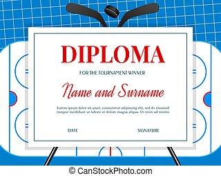 Diploma of ice hockey tournament winner template