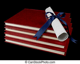 Diploma over books - A diploma with blue ribbon over several...