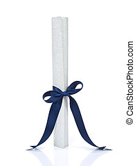 Diploma over white - A diploma with a blue ribbon isolated...